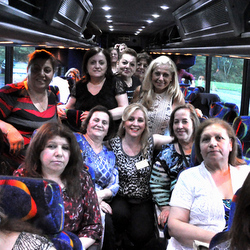 Pilgrims travel by bus