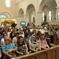 Pilgrims awaiting Mass